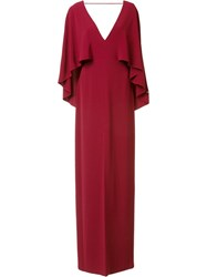 Halston Heritage Deep V Neck Gown Red