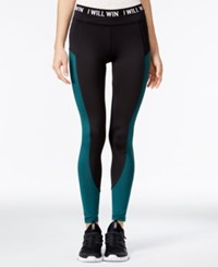 Energie Active Juniors' Lola Mesh Inset Leggings Caviar June Bug