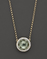 Bloomingdale's Green Amethyst And Diamond Round Pendant Necklace No Color