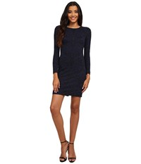 Vince Camuto Long Sleeve Sheath W Pleather Binding At Neck Navy Women's Dress