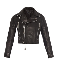 Undercover Cropped Tassel Leather Biker Jacket