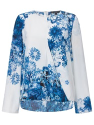 Adrianna Papell Floral Crossover Blouse White