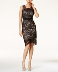 Thalia Sodi Lace Overlay Mesh Yoke Sleeveless Dress Only At Macy's Black