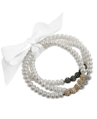 Honora Style Cultured Freshwater Pearl 6Mm And Crystal Bead Bracelet Set In Sterling Silver