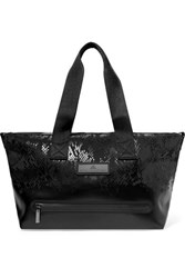 Adidas By Stella Mccartney Studio Snake Effect Faux Leather And Shell Tote Black