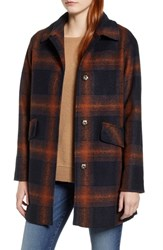 Pendleton Mercer Island Wool Blend Coat Copper Plaid