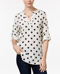 Maison Jules Polka Dot Roll Tab Blouse Only At Macy's Egret Combo