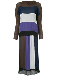 Issey Miyake Vintage Pleated Striped Skirt Suit Multicolour