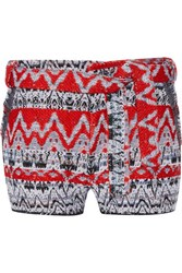 Iro Silvery Tie Front Boucle Knit Shorts Red