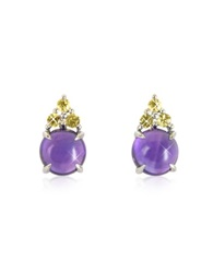 Mia And Beverly Amethyst And Yellow Sapphires 18K White Gold Earrings Purple