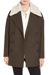 Andrew Marc New York Women's Cocoon Coat With Faux Shearling Collar Olive