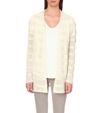 The Elder Statesman Simple Open Front Cashmere Cardigan Ivory