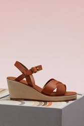 A.P.C. Judith Wedge Heeled Sandals Noisette