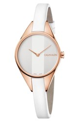 Calvin Klein Rebel Leather Band Watch 29Mm White Rose Gold