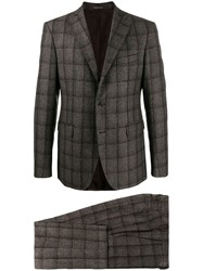 Tagliatore Check Two Piece Formal Suit Grey