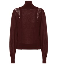 Chloe Wool And Silk Turtleneck Sweater Red