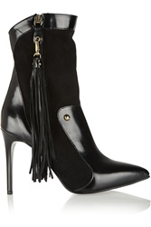 Just Cavalli Paneled Suede And Leather Boots Black