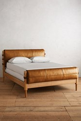 Anthropologie Leather Rhys Bed Gold