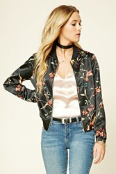 Forever 21 Contemporary Bird Print Jacket Black Red