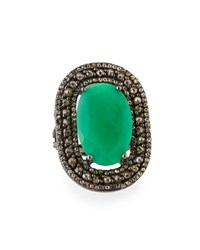 Bavna Oval Chrysoprase And Champagne Diamond Cocktail Ring Size 7
