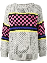 Ashley Williams Chunky Checkerboard Knitted Jumper Grey