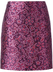 Lanvin Embroidered Floral Effect Skirt Pink Purple