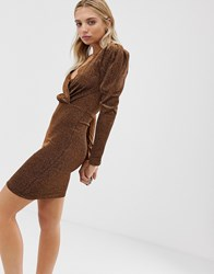 Minimum Moves By Long Sleeve Dress Brown