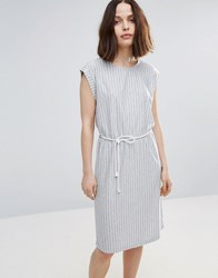 Soaked In Luxury Striped Skater Dress With Belt Light Grey