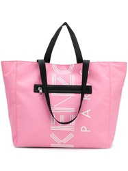 Kenzo Logo Print Tote Pink And Purple