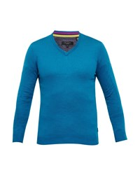 Ted Baker Men's Alterna Silk Blend V Neck Jumper Turquoise