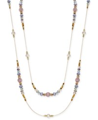 Inc International Concepts Gold Tone Pave Multicolor Bead Long Necklace Only At Macy's