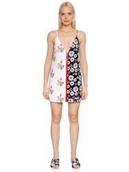 Au Jour Le Jour Floral Print Zip Up Neoprene Dress