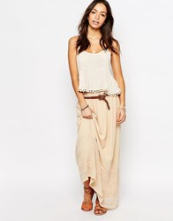 Esprit Embroidered Maxi Skirt Nude Pink