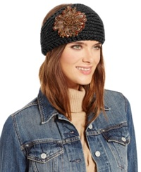 David And Young Feather And Metallic Yarn Headwrap Black