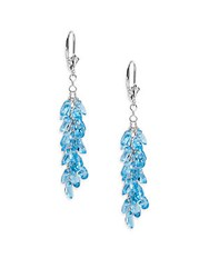 Effy Blue Topaz And 14K White Gold Chandelier Earrings