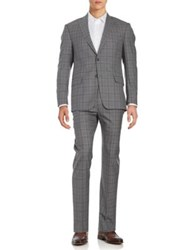 Michael Kors Plaid Wool Suit Set Grey