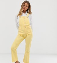 Urban Bliss Cropped Kick Flare Overalls Yellow