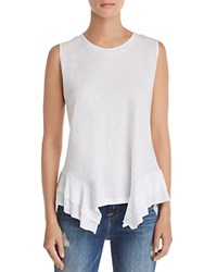 Aqua Ruffled Handkerchief Hem Tank 100 Exclusive White