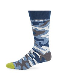 Saks Fifth Avenue Made In Italy Jaspe Camo Printed Socks Blue