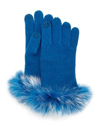 Sofia Cashmere Cashmere Tech Gloves W Fox Fur Cuff Peacock Blue