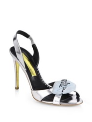 Rupert Sanderson Frisia Rhinestone Suede Lips Metallic Leather Sandals Silver