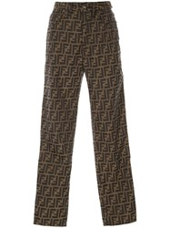 Fendi Vintage Zucca Patterned Trousers Brown