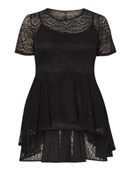 Evans Black Lace Peplum Top