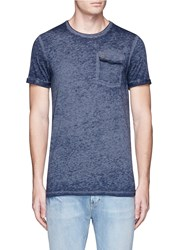 Scotch And Soda 'Rocker' Burnout Washed Roll Cuff T Shirt Blue