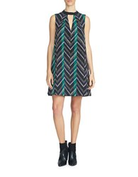 1.State Gathered Neck Shift Dress Black