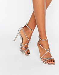 Office Spindle Silver Mirror Strappy Heeled Sandals Silver Pu