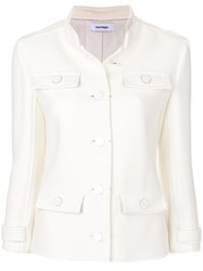 Courreges Button Down Fitted Jacket Polyamide Polyester Spandex Elastane Wool White