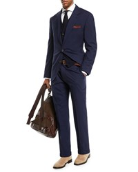 Brunello Cucinelli Solid Wool Blend Two Piece Travel Suit Blue