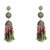 Latelita London Tassel Ball Earring Tourmaline Peridot Cz Gold Green Pink