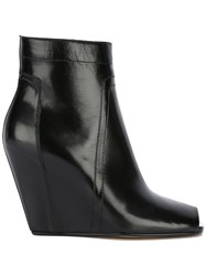 Rick Owens Open Toe Wedge Ankle Boots Black